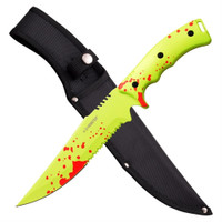 Z-Hunter ZB-158GR Zombie Fixed Blade Knife, Toxic Green/Red Combo Blade