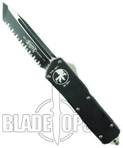 Microtech Executive Scarab Out the Front Knife, Tanto Black Full Ser Blade, 108-3
