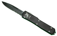 Microtech UTX85 D/A Out the Front Knife, Single Edge, DLC Blade, Part Serrated, MT125-2