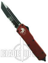Microtech Red Executive Scarab Out the Front Knife, Tanto Part Serrated Tactical Blade, 108-2RD