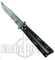 Bear & Son Damascus Butterfly Knife, 117D