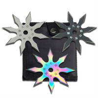 Perfect Point 90-21-3C 3-Piece Throwing Star Set, Satin/Black/Rainbow Finish