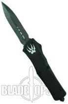 Microtech Custom Combat Troodon OTF Knife, Dual Edge Damascus Blade