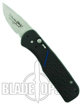 Blackie Collins CAL Legal Thin Blue Line Auto Knife, Bead Blast Plain Edge Blade