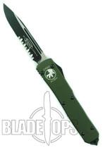 Microtech Ultratech OTF Knife, Green Handle, Two Tone Single Edge Part Serr Blade, 121-2GR