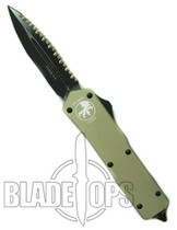 Microtech Tan Executive Scarab Out the Front Knife, Black Double Edge Blade, Full Serrations/Standard Edge, Limited Run, MT109-3TAN