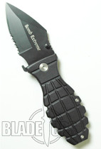 Grenade Bomb Extreme Spring Assist Knife, Black Tactical, P/S