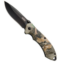 Remington Large Sportsman Assisted Opening Folder, Mossy Oak Obsession Camo Handle, Black Plain Blade