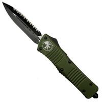 Microtech 142-3OD OD Green Combat Troodon D/E OTF Auto Knife, Full Serrated Black Blade