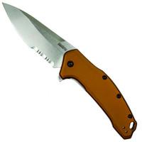 Kershaw 1776BRZSWST FDE Link Spring Assist Knife, Stonewash Combo Blade