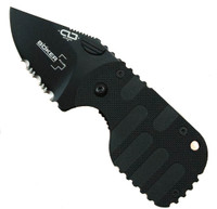Boker Subcom F Compact Knife, Black Combo Edge Blade, Black Handle