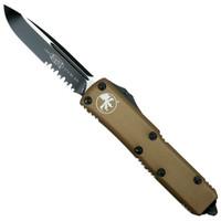 Microtech 231-2TA Tan Contoured UTX-85 S/E OTF Auto Knife, Black Combo Blade