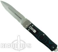 Microtech OSS Cobra Knife, Auto Lever Lock, Blue G10, 136-7BL