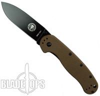 Avispa Folding Knife, Coyote Brown FRN Handle, Black Blade