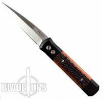ProTech Godfather Auto Knife, Black Frame, Amber Jigged Bone