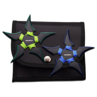 Perfect Point 90-45BG-2 Blue/Lime Green 2-Piece Throwing Star Set, Black Finish