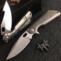 Marfione Custom Knives Blade Show 2017 Strider MSG 3.5 Titanium Flipper Knife, Meterorite Inlay, Mirror Polish Blade