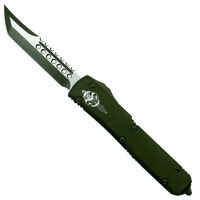 Microtech 119-1COD OD Green Contoured Ultratech Hellhound Tanto OTF Auto Knife, OD Green/Satin Blade