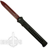 Paragon Private Stripes Estiletto OTF Auto Knife, Red Cerakote Dagger Blade