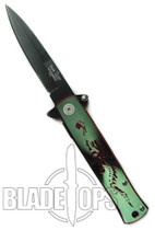 Crouching Dragon Spring Assisted Knife, Black Plain  Blade