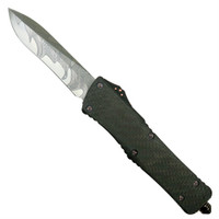 Marfione Custom Knives Combat Troodon Recurve Carbon Fiber/Alloy OTF Auto Knife, Damascus Blade