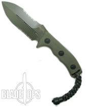 Microtech 101-2GR OD Green Crosshair D/E Fixed Blade Knife, OD Green Combo Blade