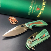 Marfione Custom Knives Blade Show 2017 Antique Green Strider MSG 3.5 Titanium Flipper Knife, Copper Inlay, Bronzed Satin Blade