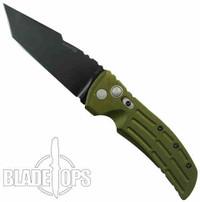 Hogue Knives EX01 Large Auto Knife, Tanto, OD Green Aluminum Handle