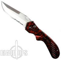 The Mercenary Auto Knife, Red, Part Serrated