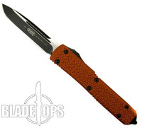 Microtech Orange Tri-Grip Ultratech OTF Automatic Knife,  Plain Black Drop Point Blade
