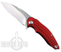 Brous Blades Red Bionic Flipper Knife, Satin Blade