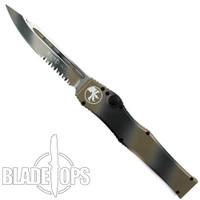 Microtech Tan Camo Halo V OTF Drop Point Knife, Combo Blade