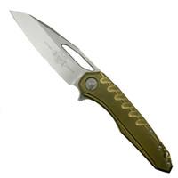 Microtech 196-10BR Sigil MK6 Brass/Titanium Flipper Knife, Stonewash Blade