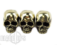 Lion ARMory Small Skull Head Brass Lanyard Beads, Set of 3