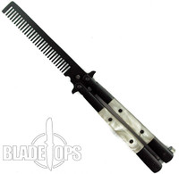 Butterfly Comb, White Pearlex Handle, Black Bolsters