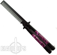 Butterfly Comb, Purple Pearlex Handle, Black Bolsters