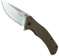 Kershaw Brown Knockout Assist Knife, ELMAX Stonewash Plain Blade