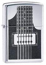High Polish Chrome Electric Guitar Zippo, 24486