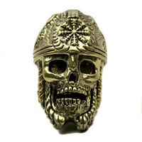 LionARMory Norseman Skull Bead, Brass