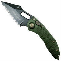 Microtech 169-3DLCOD Borka OD Green Stitch Wharncliffe Auto Knife, Full Serrated DLC Black Blade