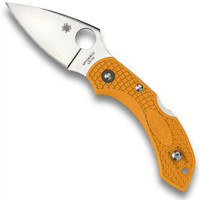 Spyderco Orange Dragonfly2 Knife, Plain Blade, FRN Handle
