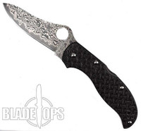 Spyderco Black Nishijin Glass Fiber Stretch, Damascus Blade