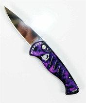 Piranha Plum Fingerling Auto Knife, 154CM Mirror Blade