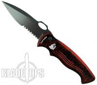 Piranha Red Hybrid Auto Knife, 154CM Black Combo Blade
