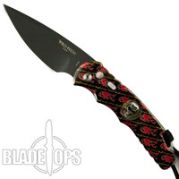 Pro-Tech 2016 SHOT Show Skull Splash Tactical Response Auto Knife, Red Skulls