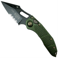 Microtech 169-2DLCOD Borka OD Green Stitch Wharncliffe Auto Knife, DLC Black Combo Blade