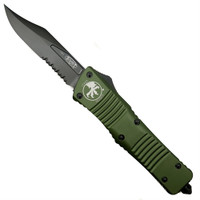 Microtech 146-2DLCOD OD Green Combat Troodon Bowie OTF Auto Knife, DLC Black Combo Blade