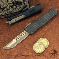 Microtech 219-13CF Signature Series Combat Troodon Carbon Fiber/Aluminum Hellhound Tanto OTF Auto Knife, Bronze Blade