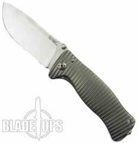 Lion Steel Knives SR-1Ti Grey Titanium Folder Knife, Satin Plain Blade