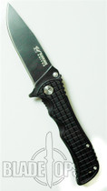 Blackjack Model 1 Tactical Drop Point Spring Assist Knife, Black, PLN, BJ034